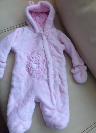 Комбинезон с капюшоном bambin розовый с варежками вышивка котёнок рост 62