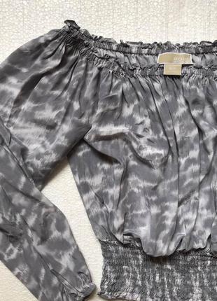 Блузка с открытыми плечами michel kors/100% silk/кроп топ/логнг слив/100% шёлк/оригинал7 фото