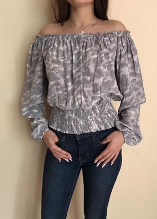 Блузка с открытыми плечами michel kors/100% silk/кроп топ/логнг слив/100% шёлк/оригинал2 фото