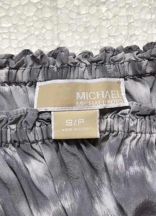 Блузка с открытыми плечами michel kors/100% silk/кроп топ/логнг слив/100% шёлк/оригинал4 фото