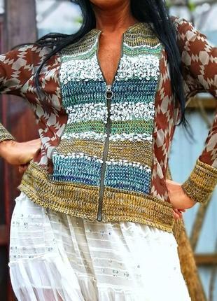 Бохо бомбер куртка летний didi комбинированный этно орнамент в полоску вязаный шифоновый