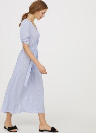 Супер легкое нежное длинное платье из вискозы с поясом и карманами от h&m