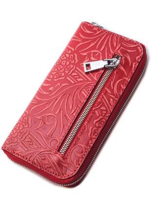 Женский кожаный кошелек на молнии lika-2 (красный цветочек)