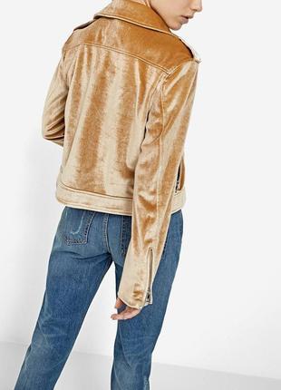 Бархатна золотая куртка/косуха stradivarius