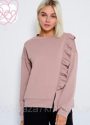 Свитшот свитер с воланом с рюшами / xs,s,m,l,xl