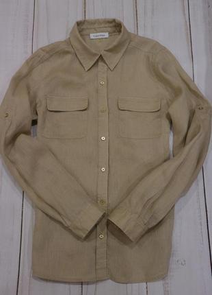 Рубашка из льна, calvin klein, оригинал, s-m