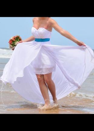 Свадебное платье белое, для пляжной фотосессии