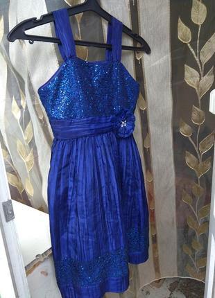 Платье для девочки нарядное синее сарафан