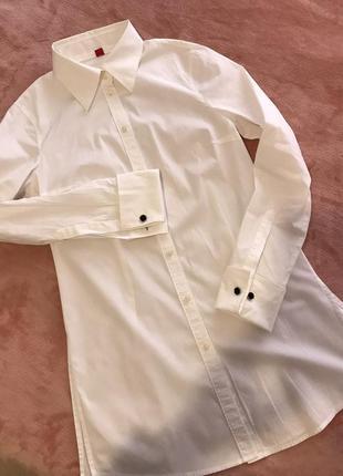 Sale!!! удлиненная белая рубашка esprit под запонки.