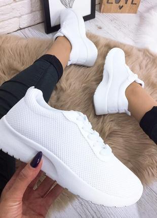 Белые легкие универсальные женские кроссовки кеды