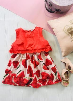 Арбузное платье с кружевным верхом