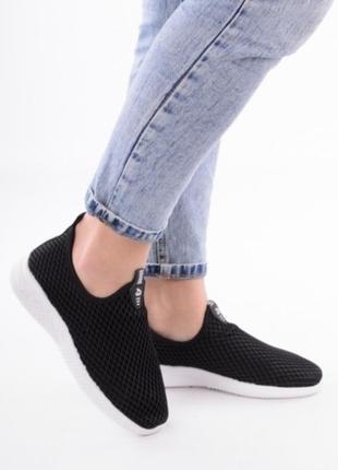Черные летние кроссовки в сеточку кеды мокасины без шнуровки2 фото