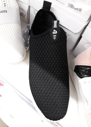 Черные летние кроссовки в сеточку кеды мокасины без шнуровки3 фото
