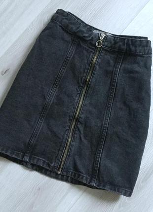 Юбка джинсовая с замком темно серый деним