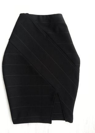 Модная чёрная бандажная юбка завышенная талия, разрез, 34/363 фото