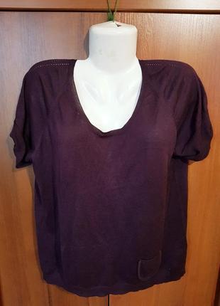 Шелковая легкая вязанная блузка 50-52