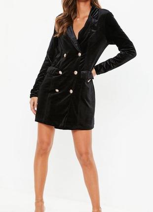 Бархатное вельветовое платье длинный  пиджак жакет блейзер от missguided