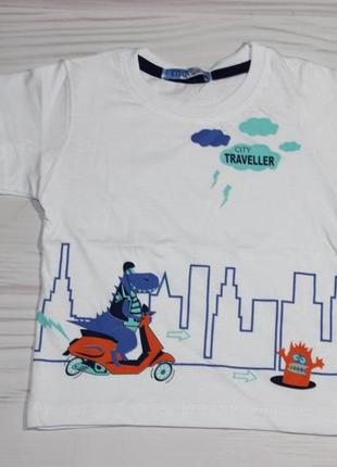 Хлопковая белая футболка с рисунком, турция