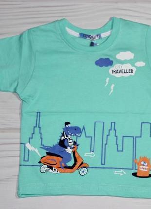 Хлопковая мятная футболка с рисунком, турция