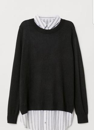 Шерстяной джемпер/чёрный джемпер/джемпер-рубашка