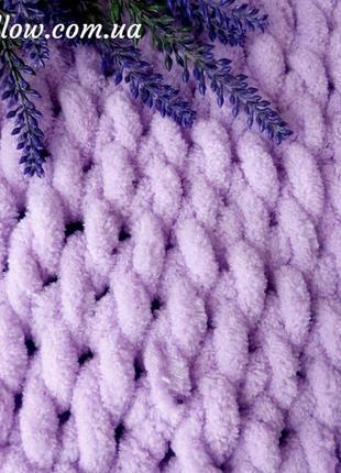 Плед плюшевый вязаный 100х80 фиолетовый, конверт для выписки1