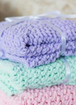 Плед плюшевый вязаный 100х80 фиолетовый, конверт для выписки2