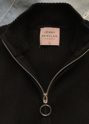 Базовая черная водолазка в рубчик с воротником на молнии от vero moda by jenny skavlan xs.3 фото