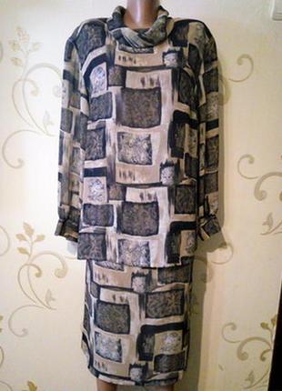 Легкий шифоновий костюм спідниця юбка блузка туніка .  розмір 16.