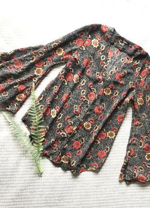 Блузка рубашка цветочный принт рукав клёш в цветы купить цена