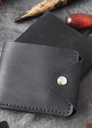 Черный кошелек из кожи