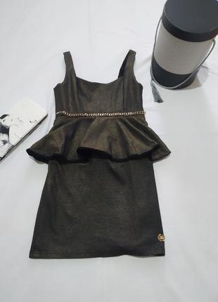 Платье сарафан с баской и напылением