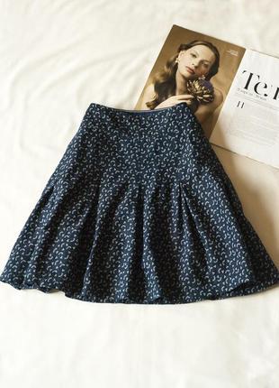 Летняя синяя юбка мини с принтом fat face, размер l