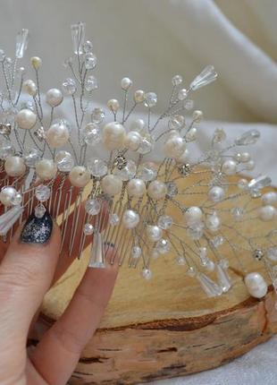 Свадебный гребень с белым жемчугом ′жемчужная ветка′1 фото