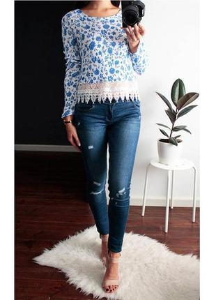 Кофточка  h&m легкий свитер с кружевом в цветочный принт нежной расцветки