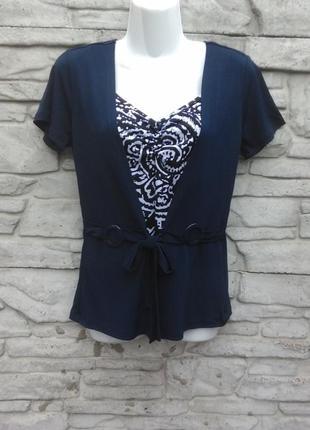 Краивая блуза-обманка темно-синего цвета 2в1