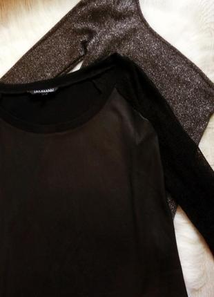 Черный кожаный реглан джемпер свитшот кофточка с кружевными рукавами сетка3 фото