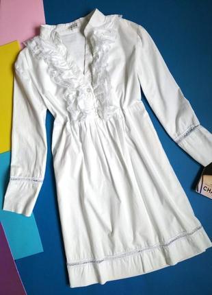 Удлинённая блуза - туника с рюшами (s размер)