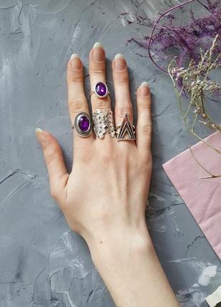 Набор 4 в 1 колец фиолетовых бохо этно богемный стиль фиолетовые камни серебристый