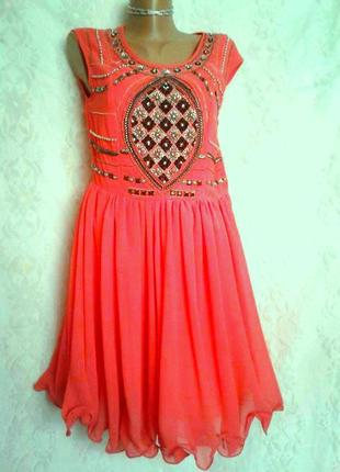 Яркое коралловое шифоновое платье , m.