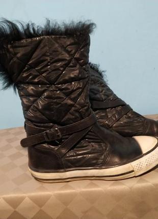 Кожание модные ботинки, высокие кеды, 36 размер
