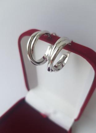 Скидка 10 % серьги кольца, серебро 925, италия
