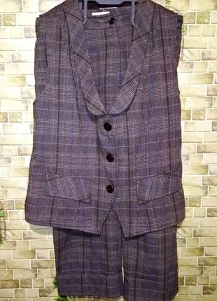 Шерстяной классический костюм жилетом bonita