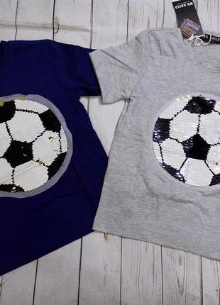 Футболки с пайетками-перевертышами 6-12 лет.3 фото