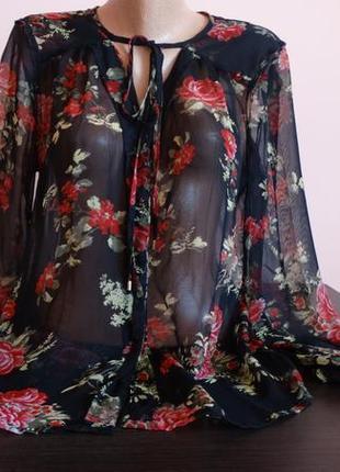 Шикарная шифоновая индийская блуза в цветы vero moda