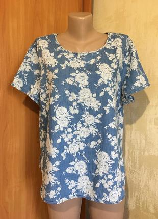 Лёгкая джинсовая блуза в цветочный принт!