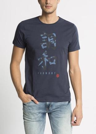 Синяя мужская футболка lc waikiki / лс вайкики с надписью harmony