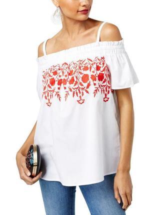 Вышиванка оверсайз красным по белому , спадающая с плеч, на резинке, с короткими рукавами