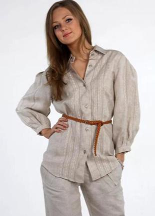 Рубашка длинная/платье/туника с мережкой/ лен/с вышивкой и мережкой/marks & spencer
