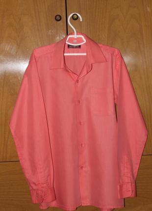 Коралловая рубашка на рост 152