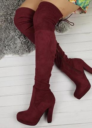 Новые шикарные женские демисезонные бордовые сапоги ботфорты4 фото